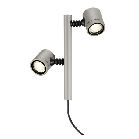 Светильник с регулировкой направления света для крепления на основание SLV NEW MYRA 2 233184, IP44, 2xGU10x4,5W, серый, металл