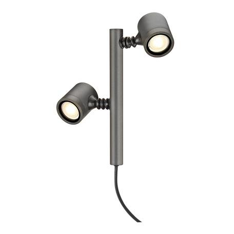 Светильник с регулировкой направления света для крепления на основание SLV NEW MYRA 2 233185, IP44, 2xGU10x4,5W, серый, металл