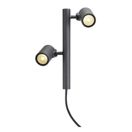 Светодиодный светильник с регулировкой направления света для крепления на основание SLV HELIA LED 2 233285, IP55, LED 3000K, серый, металл