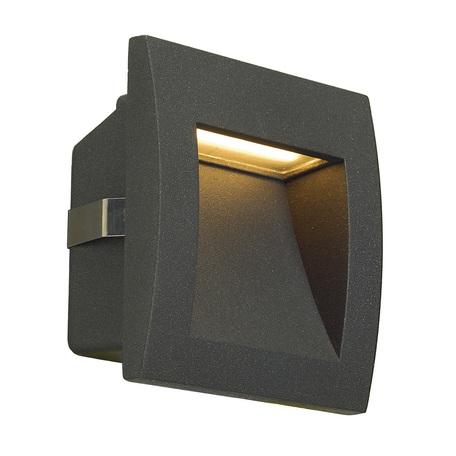 Встраиваемый настенный светодиодный светильник SLV DOWNUNDER OUT S 233605, IP55, LED 3000K, серый, металл