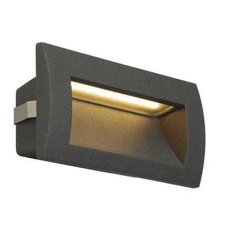 Встраиваемый настенный светодиодный светильник SLV DOWNUNDER OUT M 233625, IP55, LED 3000K, серый, металл