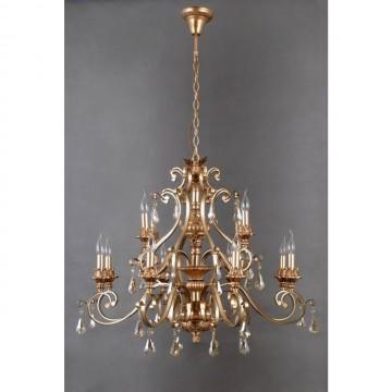 Подвесная люстра Chiaro Версаче 639012312, коричневый, матовое золото, коньячный, металл, пластик, хрусталь