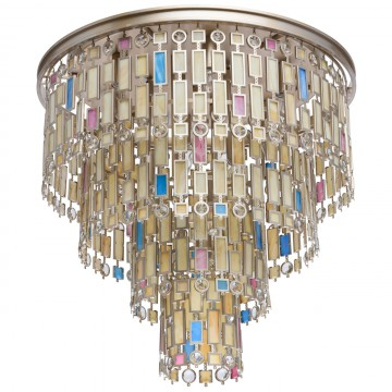 Потолочная люстра MW-Light Марокко 185010710, 10xE14x40W, матовое золото, разноцветный, металл, стекло