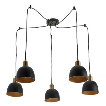 Люстра-паук MW-Light Вальтер 551011305, 5xE14x40W, бронза, черный, металл