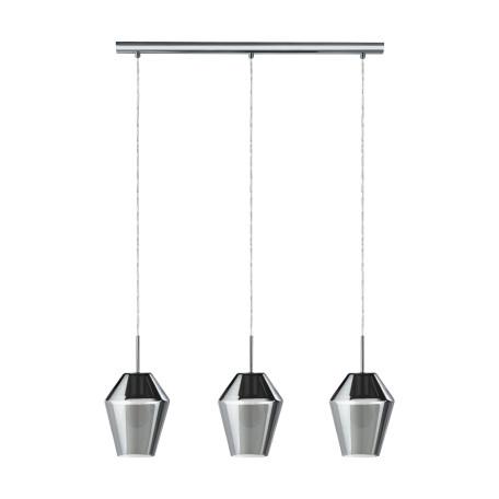 Подвесной светильник Eglo Murmillo 96774, 3xE27x28W, хром, дымчатый, металл, стекло