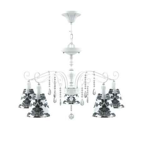 Светильник Maytoni Provence 15 E4-05-WM-LMP-O-2-CRL-E4-05-TR-DN, 5xE14x40W, белый, черный с белым, прозрачный, металл, текстиль, стекло