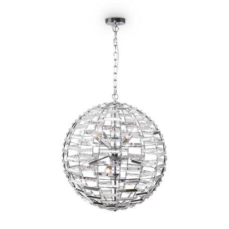 Светильник Maytoni Palla MOD092PL-08CH, 8xE14x40W, хром, хром с прозрачным, прозрачный с хромом, металл, хрусталь