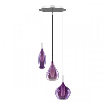 Люстра-каскад Lightstar Pentola 803059, 3xG9x25W, хром, фиолетовый, металл, стекло