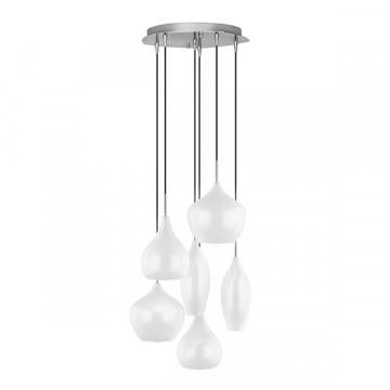 Люстра-каскад Lightstar Pentola 803060, 6xE14x40W, хром, белый, металл, стекло