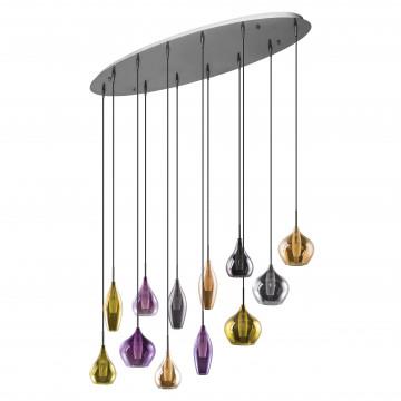 Люстра-каскад Lightstar Pentola 803225, 12xG9x25W, хром, разноцветный, металл, стекло