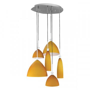 Люстра-каскад Lightstar Agola 810163, 6xE14x40W, хром, оранжевый, металл, стекло