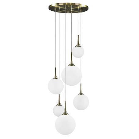 Люстра-каскад Lightstar Globo 813061, 6xE14x40W, бронза, белый, металл, стекло