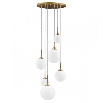 Люстра-каскад Lightstar Globo 813062, 6xE14x40W, матовое золото, белый, металл, стекло