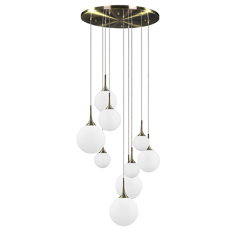 Люстра-каскад Lightstar Globo 813091, 9xE14x40W, бронза, белый, металл, стекло