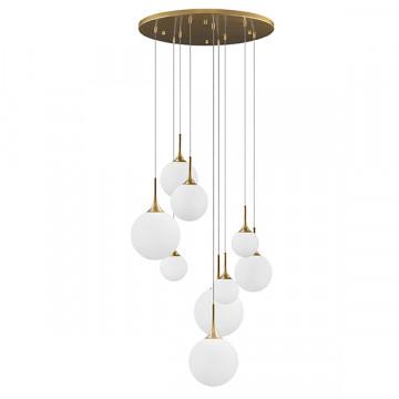 Люстра-каскад Lightstar Globo 813092, 9xE14x40W, матовое золото, белый, металл, стекло