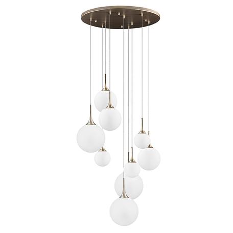 Люстра-каскад Lightstar Globo 813093, 9xE14x40W, янтарь, белый, металл, стекло
