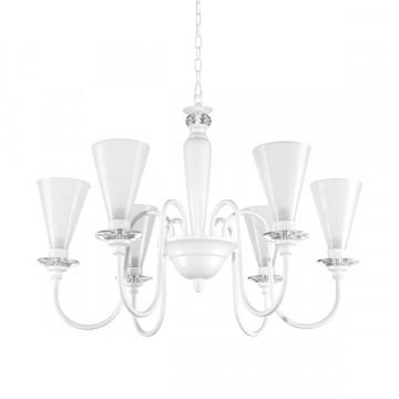 Подвесная люстра Lightstar Torcia 780060, 6xG9x40W, белый, металл с хрусталем, стекло