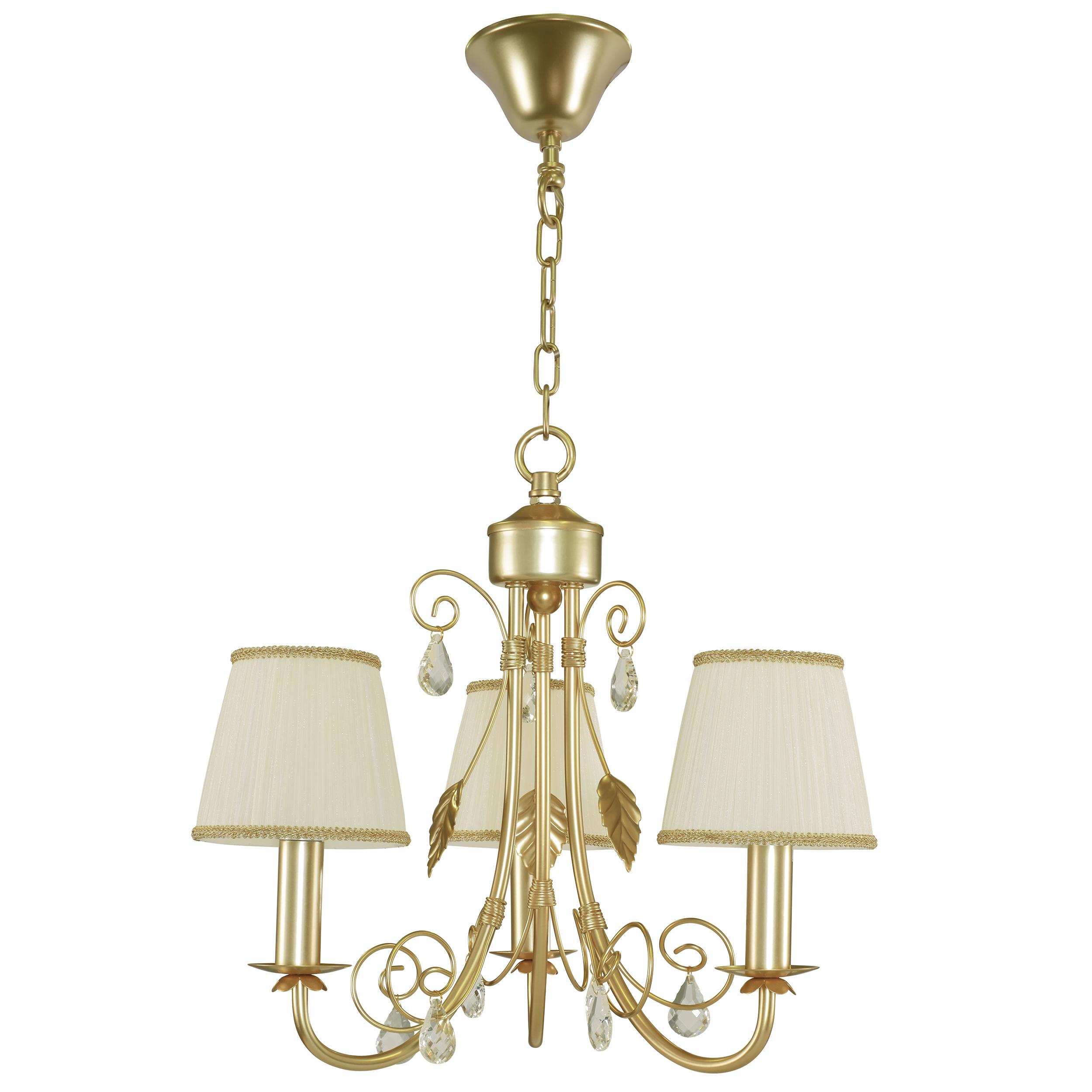 Подвесная люстра Lightstar Modesto 781032, 3xE14x40W, матовое золото, белый, прозрачный, металл, текстиль, хрусталь - фото 1