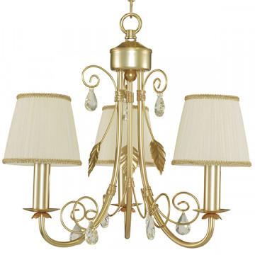 Подвесная люстра Lightstar Modesto 781032, 3xE14x40W, матовое золото, белый, прозрачный, металл, текстиль, хрусталь - миниатюра 2