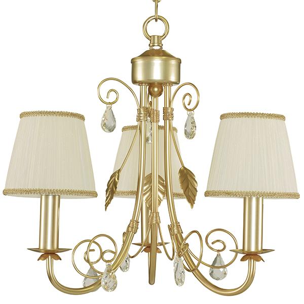Подвесная люстра Lightstar Modesto 781032, 3xE14x40W, матовое золото, белый, прозрачный, металл, текстиль, хрусталь - фото 2