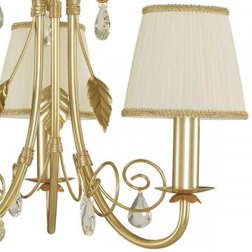 Подвесная люстра Lightstar Modesto 781032, 3xE14x40W, матовое золото, белый, прозрачный, металл, текстиль, хрусталь - миниатюра 3