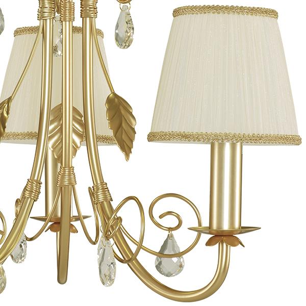 Подвесная люстра Lightstar Modesto 781032, 3xE14x40W, матовое золото, белый, прозрачный, металл, текстиль, хрусталь - фото 3