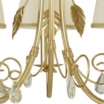 Подвесная люстра Lightstar Modesto 781032, 3xE14x40W, матовое золото, белый, прозрачный, металл, текстиль, хрусталь - миниатюра 4