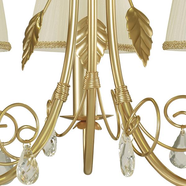 Подвесная люстра Lightstar Modesto 781032, 3xE14x40W, матовое золото, белый, прозрачный, металл, текстиль, хрусталь - фото 4