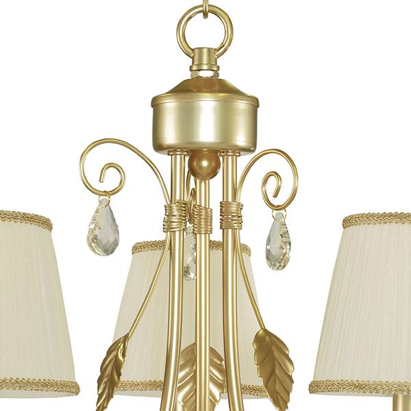 Подвесная люстра Lightstar Modesto 781032, 3xE14x40W, матовое золото, белый, прозрачный, металл, текстиль, хрусталь - фото 6