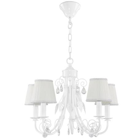 Подвесная люстра Lightstar Modesto 781050, 5xE14x40W, белый, прозрачный, металл, текстиль, хрусталь