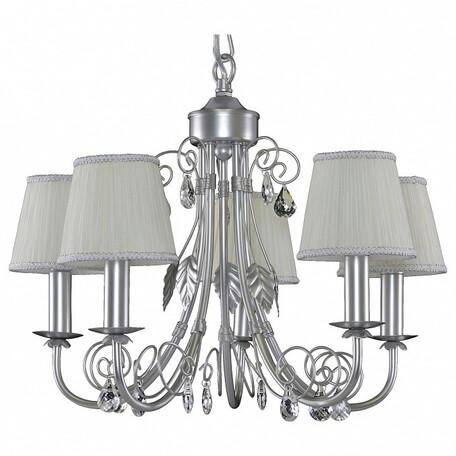 Подвесная люстра Lightstar Modesto 781054, 5xE14x40W, серебро, белый, прозрачный, металл, текстиль, хрусталь