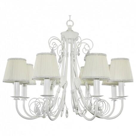 Подвесная люстра Lightstar Modesto 781080, 8xE14x40W, белый, прозрачный, металл, текстиль, хрусталь