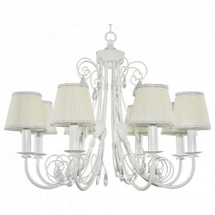 Подвесная люстра Lightstar Modesto 781080, 8xE14x40W, белый, прозрачный, металл, текстиль, хрусталь - фото 1