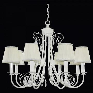 Подвесная люстра Lightstar Modesto 781080, 8xE14x40W, белый, прозрачный, металл, текстиль, хрусталь - миниатюра 2