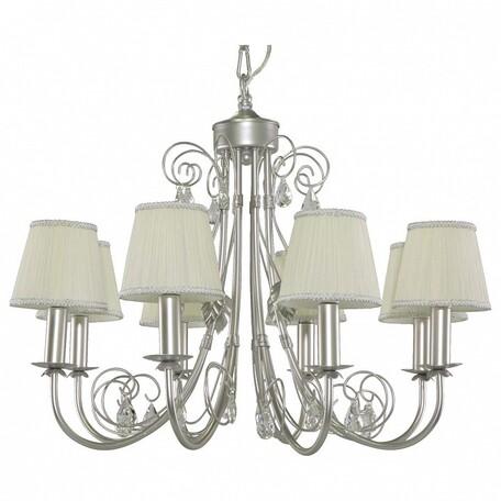 Подвесная люстра Lightstar Modesto 781084, 8xE14x40W, серебро, белый, прозрачный, металл, текстиль, хрусталь