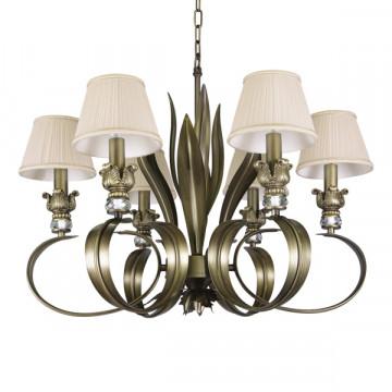 Подвесная люстра Lightstar Antique 783061, 6xE14x40W, бронза, бежевый, металл с хрусталем, текстиль