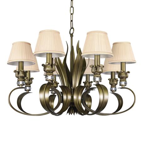 Подвесная люстра Lightstar Antique 783081, 8xE14x40W, бронза, бежевый, металл с хрусталем, текстиль