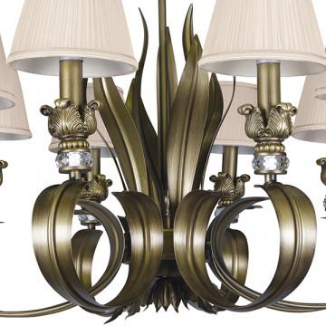 Подвесная люстра Lightstar Antique 783081, 8xE14x40W, бронза, бежевый, металл с хрусталем, текстиль - миниатюра 4