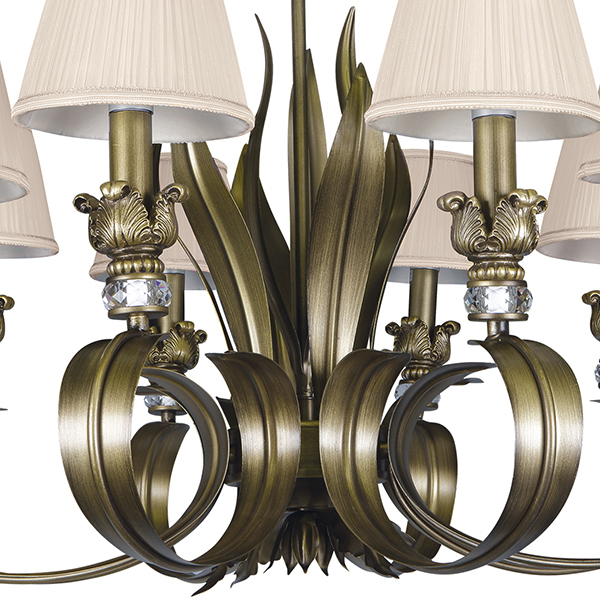 Подвесная люстра Lightstar Antique 783081, 8xE14x40W, бронза, бежевый, металл с хрусталем, текстиль - фото 4