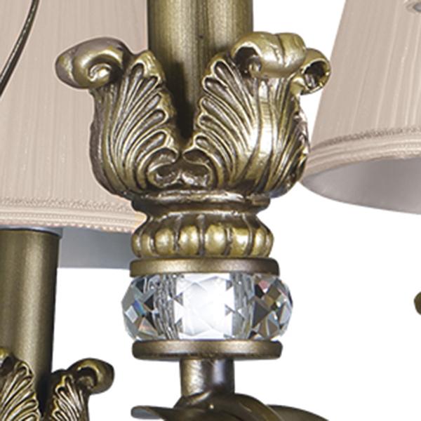 Подвесная люстра Lightstar Antique 783081, 8xE14x40W, бронза, бежевый, металл с хрусталем, текстиль - фото 5