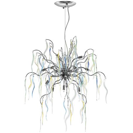 Подвесная люстра Lightstar Mocco 792154, 15xG9x40W, хром, голубой, желтый, разноцветный, металл, стекло