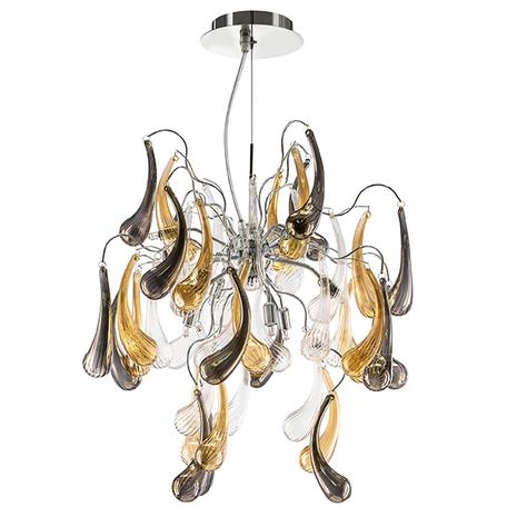 Подвесная люстра Lightstar Manica 794194, 9xG9x40W, хром, дымчатый, прозрачный, янтарь, металл, стекло