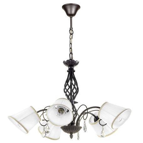 Подвесная люстра Lightstar Esedra 796158, 5xE27x40W, коричневый, белый, прозрачный, металл, текстиль, хрусталь