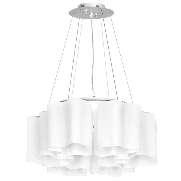 Подвесная люстра Lightstar Nubi 802160, 6xE27x40W, матовый хром, белый, металл, стекло - фото 1