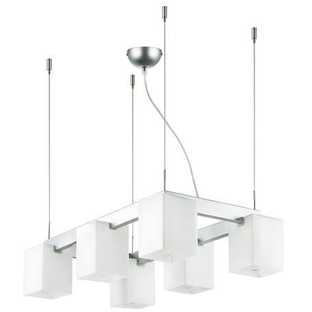 Подвесная люстра Lightstar Qubica 805060, 6xE14x40W, матовый хром, белый, металл, стекло