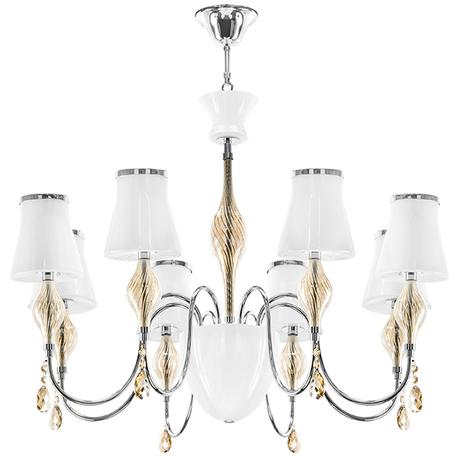 Подвесная люстра Lightstar Escica 806080, 8xE14x40W +  1xG9x40W, хром, белый, коньячный, металл со стеклом, стекло, хрусталь