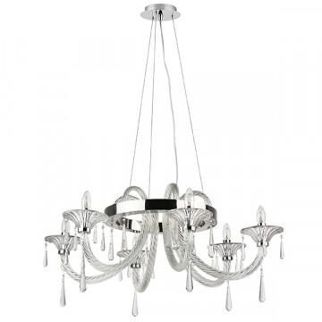 Подвесная люстра Lightstar Corno 821060, 6xE14x40W, хром, прозрачный, металл со стеклом/хрусталем, хрусталь