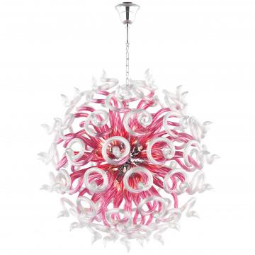 Подвесная люстра Lightstar Medusa 890182, 18xG9x40W, хром, розовый, металл, стекло