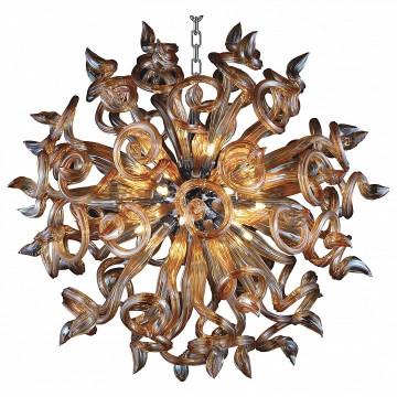 Подвесная люстра Lightstar Medusa 890183, 18xG9x40W, хром, янтарь, металл, стекло