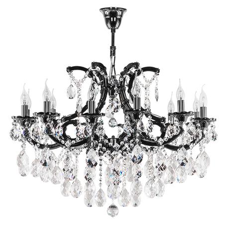 Подвесная люстра Lightstar Osgona Champa Nero 879127, 12xE14x60W, черный, черный хром, прозрачный, стекло, хрусталь